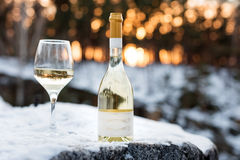 Love, romance, holiday, New Year celebration concept. Bottle and glass of white wine chilled by snow in winter forest on Stock Images