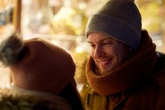 Close up of happy couple in winter clothes Stock Photos