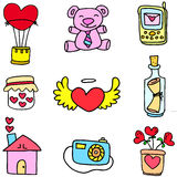 Love romance theme of doodles Royalty Free Stock Photos
