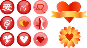 Love and romance vector icons. Love and romance various icons Stock Image