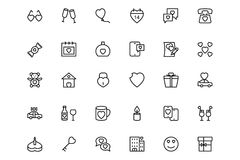 Love and Romance Vector Line Icons 3 Stock Photo