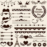 Love, romance and wedding design elements. Vector set. Love, romance and wedding decorations set. Collection of elements for valentine's greeting cards, wedding Stock Image