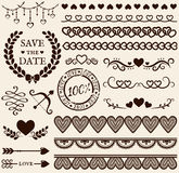 Love, romance and wedding design elements. Vector set. Love, romance and wedding decorations set. Collection of elements for valentine's greeting cards, wedding royalty free illustration