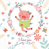 Love romantic card with cute jumping pig Stock Photos