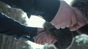 Love - romantic couple holding hands stock footage
