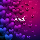 Love romantic 3D Realistic Red Hearts Shining heart bokeh background. Royalty Free Stock Photo