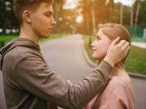 Love romantic date couple romantic. Young teenage couple. Romantic date at sunset. First love sensuality tenderness concept Royalty Free Stock Photo