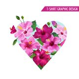 Love Romantic Floral Heart Design with Pink Hibiscus Flowers for Prints, Fabric, T-shirt, Posters. Spring and Summer. Tropical Background. Vector illustration Royalty Free Stock Image