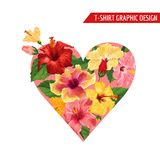 Love Romantic Floral Heart Design with Red and Yellow Hibiscus Flowers for Prints, Fabric, T-shirt, Posters Summer. Love Romantic Floral Heart Design with Red Royalty Free Stock Photos