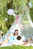 Romantic picnic. Love. Romantic picnic in the park Royalty Free Stock Image