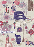 Love in Rome. Greeting card with a beautiful pastel vintage style design of romantic lovers amongst the landmarks of Rome surrounded by intricate decorative Stock Photo