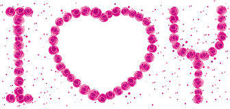 LOVE rose background. Illustration of Rose composed of letters Stock Photography