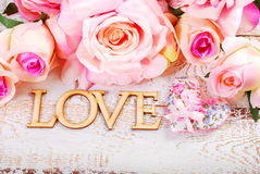 Love and roses background Stock Photos