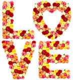 LOVE, roses flower letters isolated on white Royalty Free Stock Photography