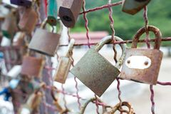 Rust locks couple. Love rust locks couple culture Royalty Free Stock Images