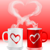 Love's cups. Illustration Valentine's day, love's cups Stock Photography
