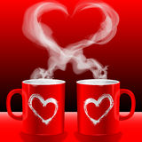 Love's cups. Illustration Valentine's day, love's cups Royalty Free Stock Photo