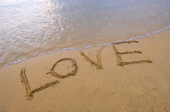 Love in the sand stock image