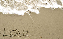 Love In the Sand. Love written In the Sand Royalty Free Stock Images