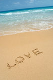 Love in sand. Photo of beach and love in sand Stock Photography