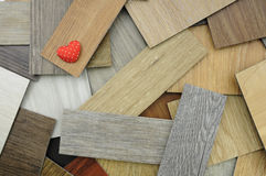 Love save the Earth on wooden background, Samples of laminate an Stock Photo