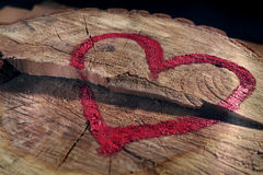 Love and save nature, red heart drawn on a tree trunk, close-up. Help to protect nature, stop deforestations Stock Images