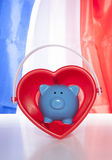 Love saving on a french flag Royalty Free Stock Photos