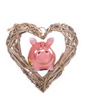 Love saving piggy bank Stock Images