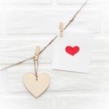 LOve scandinavian loft brown natural wooden valentines garland w Royalty Free Stock Image