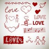 Love sceth, romance doodles stock photo