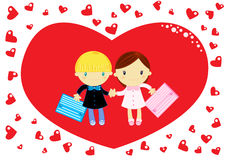 Love at school. Heart shaped valentine's day card with a couple of cute primary school children wearing pinafore Royalty Free Stock Photo