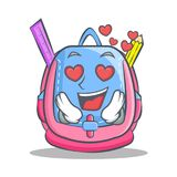 In love school bag character cartoon. Vector illustration Royalty Free Stock Photos