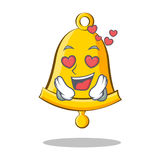 In love school bell character cartoon. Vector illustration Royalty Free Stock Images