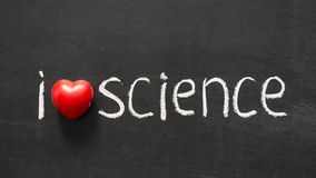 Love science. I love science phrase handwritten on the school blackboard Stock Image