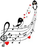 Love score with two black birds. Vector illustration, musical background Royalty Free Stock Photography