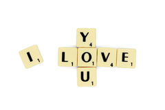 Love scrabble letters isolated white background stock image