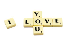 Love scrabble letters isolated white background 2 Royalty Free Stock Photos