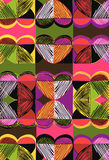 Love, scribble, pop. Handdrawn, geometric patchwork of hearts and scribbles Stock Photos