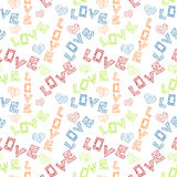 Love Scribbled Words Seamless Background stock photos