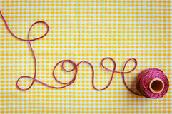 Love Script in Crochet Yarn Royalty Free Stock Photo