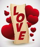 Love Scroll with Hearts Floating, Vector Illustration Royalty Free Stock Images