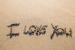 Love sculpted in the sand Royalty Free Stock Photography
