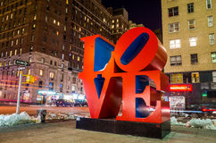 Love sculpture at night in New York Stock Photography