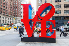 Love sculpture from Robert Indiana in Midtown Manhattan, New York City royalty free stock photo