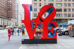 Love sculpture from Robert Indiana in Midtown Manhattan, New York City Royalty Free Stock Image