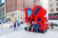 Love sculpture from Robert Indiana in Midtown Manhattan, New York City stock photos