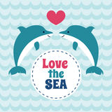 Love the sea summer card with pair of dolphins. Stock Image