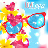 Love and the sea vector summer light illustration Stock Photography