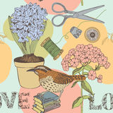 Love seamless background with bird and flowers Royalty Free Stock Photography