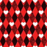 Love seamless background with rhombus and hearts Royalty Free Stock Photos